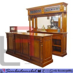 Mini Bar Jati Jepara 1 Set Counter & Kabinet SM-472